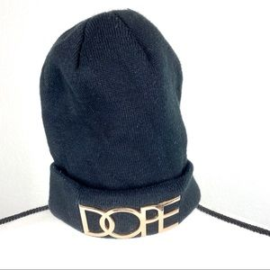 BLACK WITH DOPE GOLD LETTER BEANIE